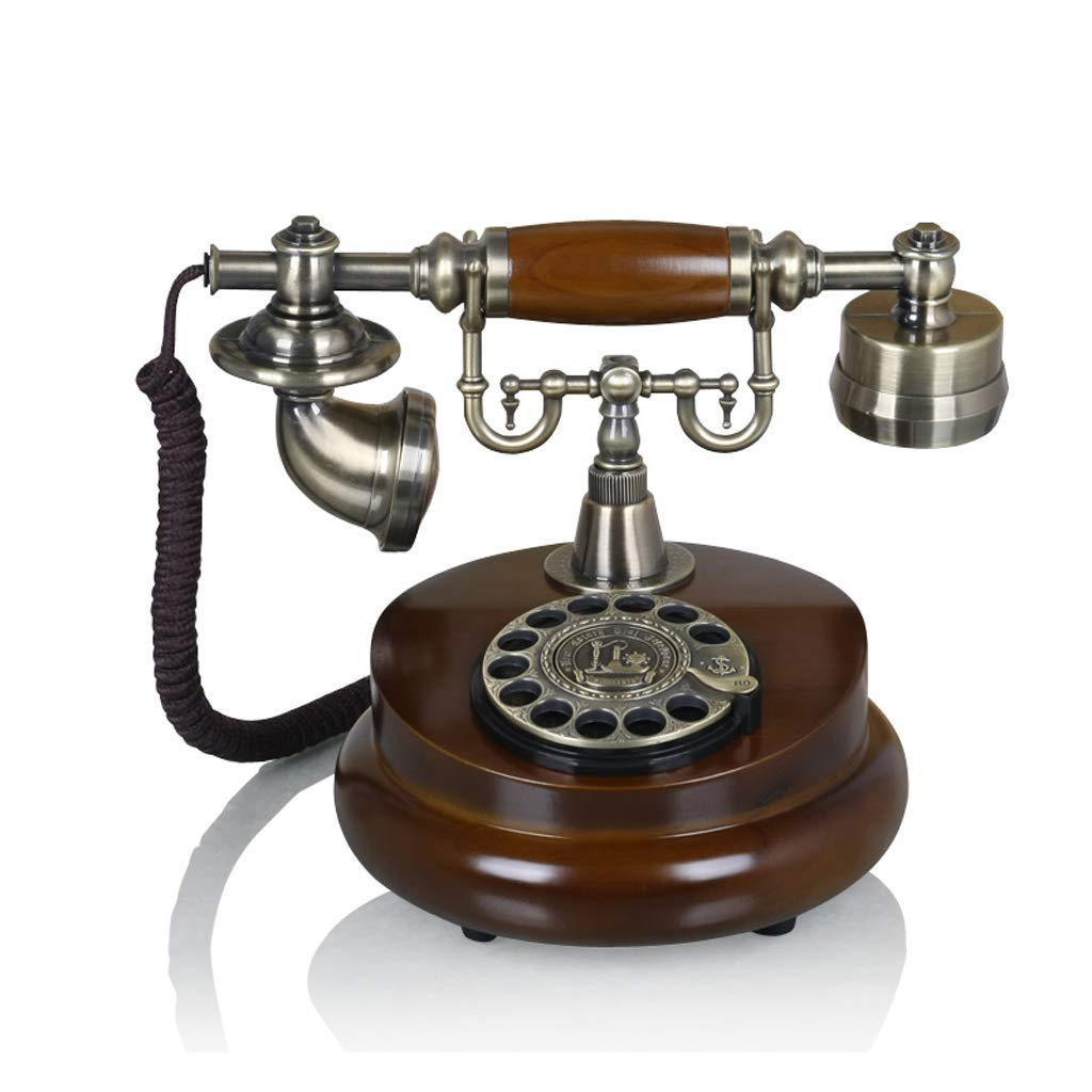 クリエイティブヴィンテージデコレーションヴィンテージ固定ヨーロッパのロータリーダイヤル電話、17 * 20 * 25 cm、ブラウン B07K17NY9H