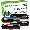 Aztech 4 Packs Compatible Toner Cartridge Replacement for HP 410A CF410A CF411A CF412A CF413A for HP Color Laserjet Pro MFP M477fnw M477fdn M477fdw M452dn M452nw M452dw M477 M452 M377dw Printer Toner