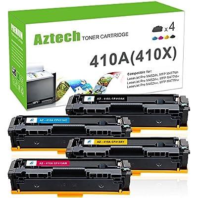 Aztech Compatible Toner Cartridge Replacement for CF410A CF411A CF412A CF413A CF410X 410A 410X for Color LaserJet Pro MFP M477fdw M477fdn M452nw M452dn  MFP M477fdw M477fdn Toner M377dw