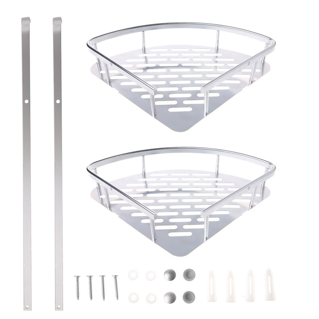 Techinal 2 Tiers Bathroom Corner Shelf Shower Storage Rack, Aluminum Basket for Bathroom Storage