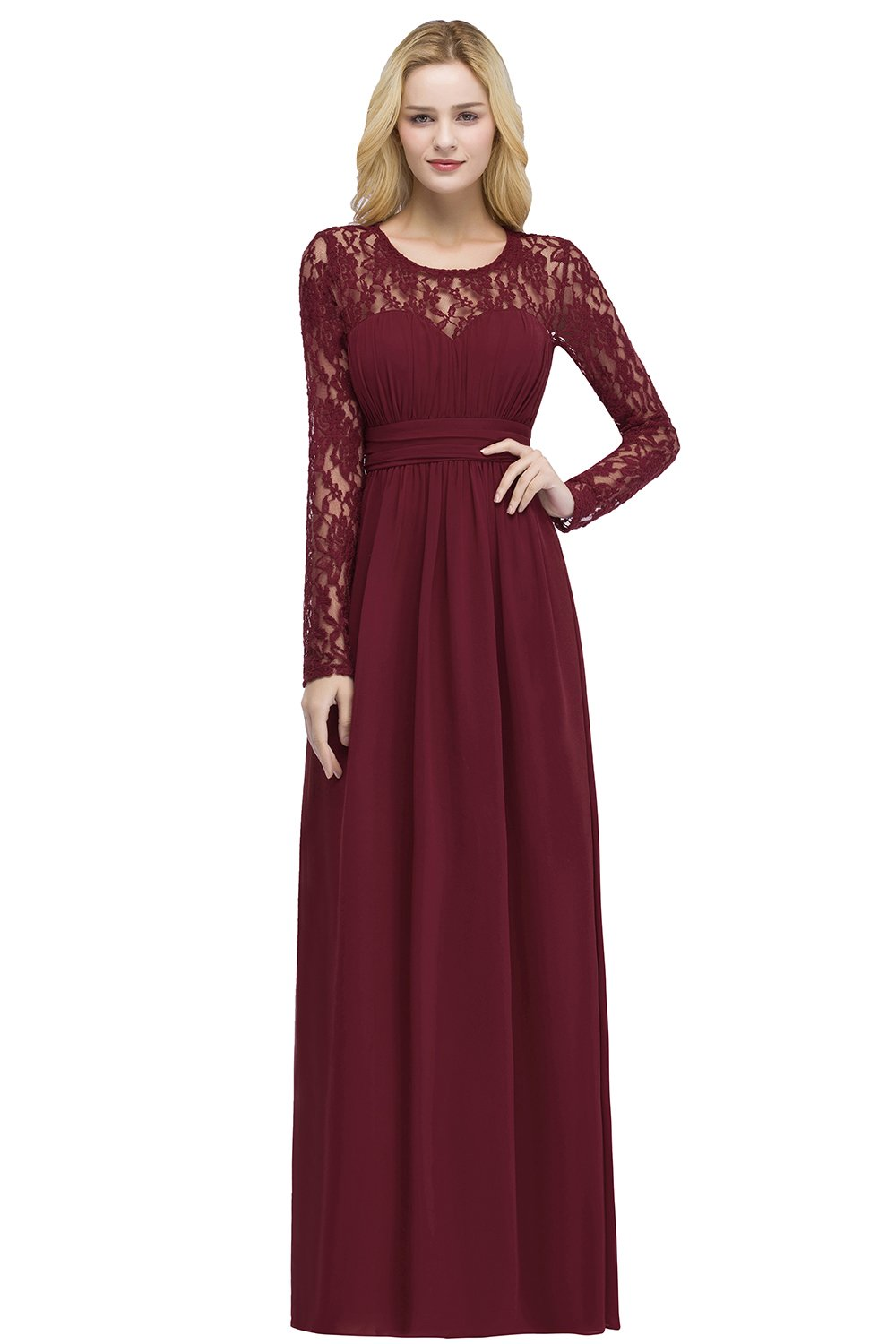 ae0ec1ede2 MisShow Women s Lace Applique Sheer Back Formal Prom Evening Gowns with Long  Sleeve .