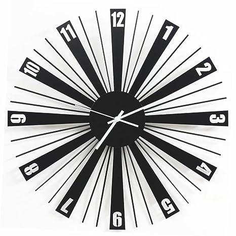 Ywyun Personalidad moderna reloj digital simple Reloj de pared de hierro, arte creativo sala de estar dormitorio decoración reloj de cuarzo silencioso: ...
