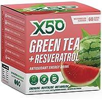 Green Tea X50 Green Tea & Resveratrol Watermelon Energy Drink Powder 60 Sachets, Clean Energy, Fat Burner,, Watermelon…