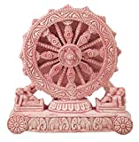 DollsofIndia Chariot Wheel of Konark Temple - Stone Dust Sculpture - 3.75 x 3.5 x 0.75 inches