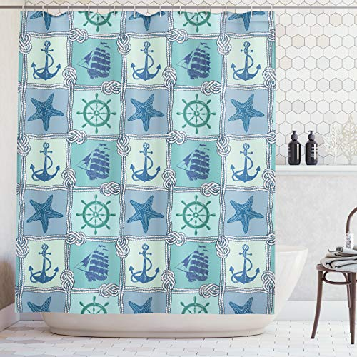 Ambesonne Ships Wheel Decor Shower Curtain Set, Nautical Patchwork Pattern with Ropes Starfish Sailing Ship Anchor and Wheel, Bathroom Accessories, 84 Inches Extralong, Turquoise ()