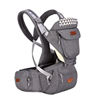 Baby Carrier With Detachable Hipseat & Hood, SUNVENO Ergonomic Front and Back Baby Carrier Backpack (Grey)