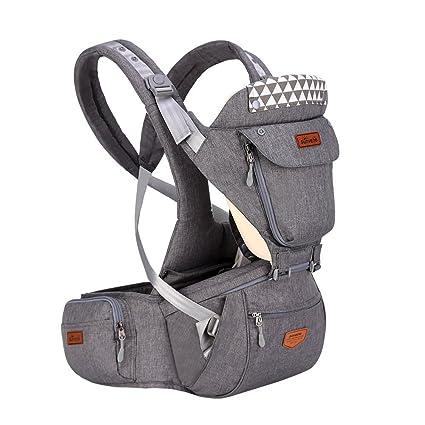 SUNVENO carrito de bebé con capucha Hipseat cartucho desmontable ergonómico infantil mochila frontal Carriers (gris)