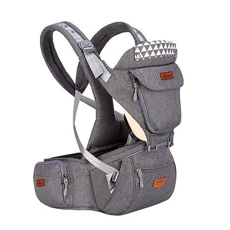 SUNVENO carrito de bebé con capucha Hipseat cartucho desmontable ergonómico infantil mochila frontal Carriers (gris