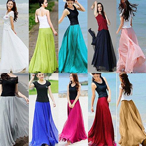Hmlai Women's One Piece Casual Elastic Skirt Waist Chiffon Long Maxi Beach Dress