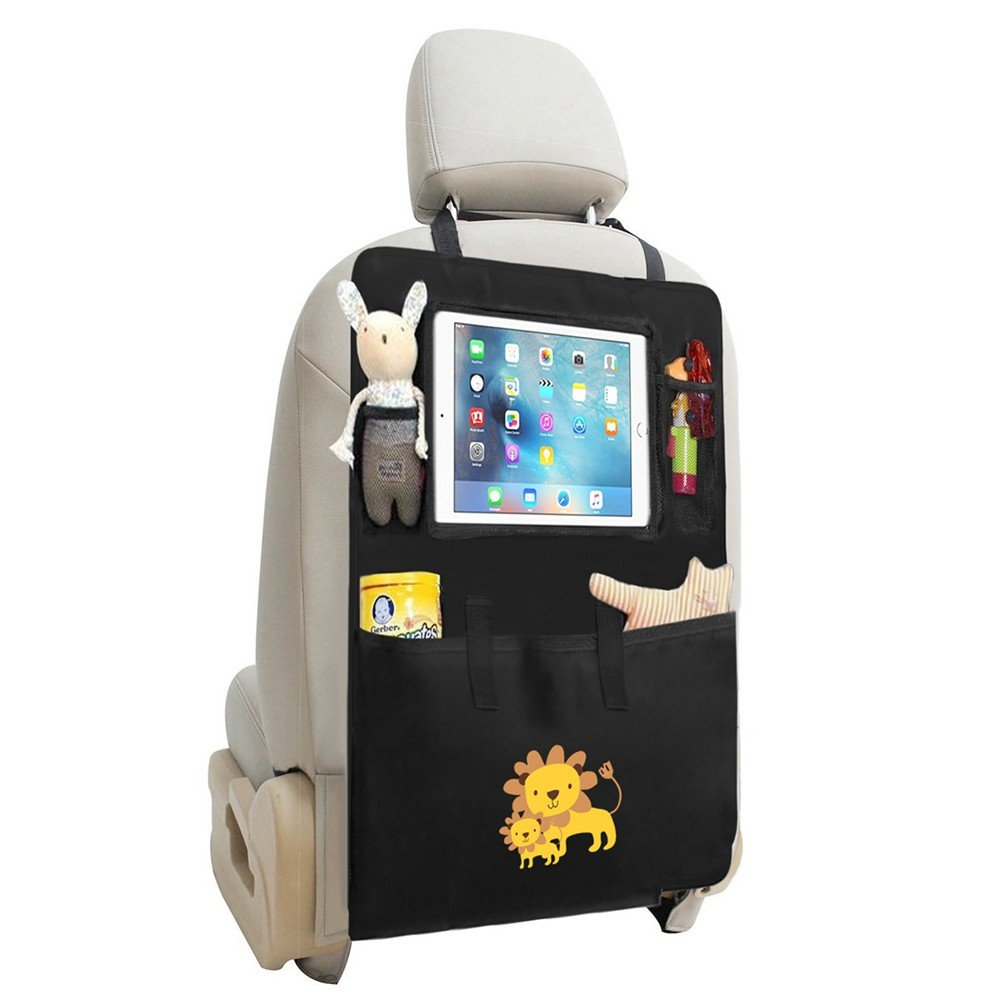 Auto Rückenlehnenschutz , Zuoao Rückenlehnen Tasche Trittschutz mit Rücksitz-Organizer, Rückensitztasche mit Multifunktionen, Kinder Rücksitzschoner Kick-Matten-Schutz für Auto,1 Stück