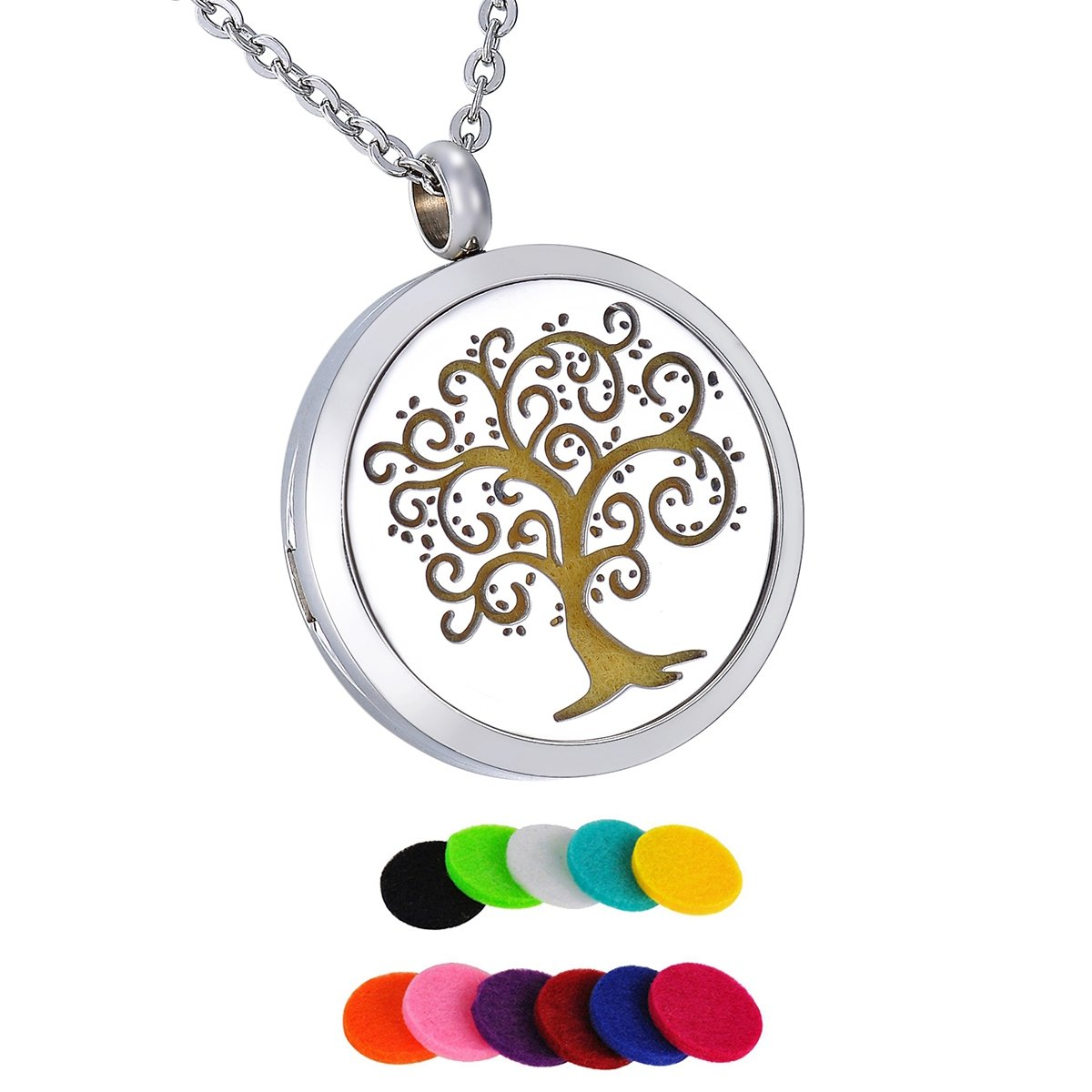 HooAMI Aromatherapy Essential Oil Diffuser Necklace - Family Tree Stainless Steel Locket Pendant,11 Refill Pads TY BETY116490