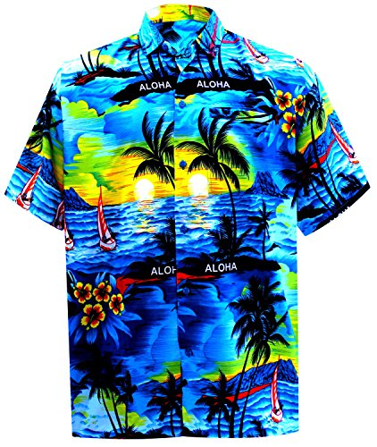 7766a2fc La Leela Aloha Hawaiian Tropical BEACH Solid plain Mens Casual Short  Sleeves Button Down Tropical Shirts S Blue - Buy Online in Oman. | Misc.