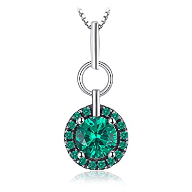 JewelryPalace Fashion 0.7ct Nano Russian Simulated Emerald Pendant Necklace 925 Sterling Silver 18 Inches vOkOKgH
