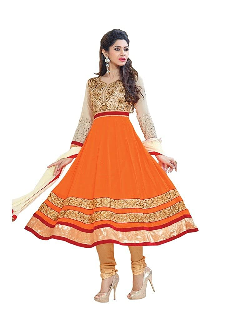 Mirchi Fashion Women Orange Beige Indian Semi-Stitched Anarkali Suit Dress