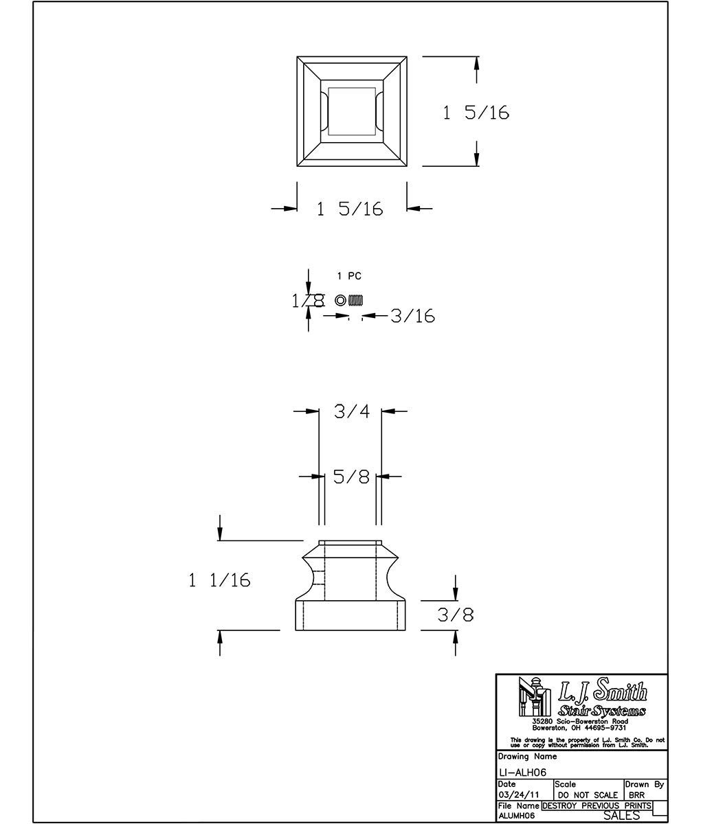 LI-ALH06-SB: Aluminum Level Shoe for 9/16'' Hollow Square Aluminum Balusters (Satin Black)