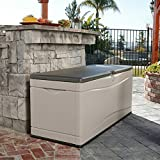 130 Gallon Plastic Deck Storage Box, Resistant Outdoor Furniture