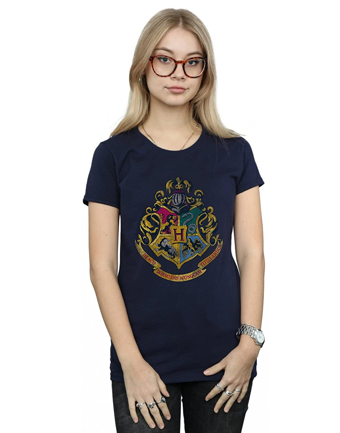 HARRY POTTER Mujer Hogwarts Distressed Crest Camiseta