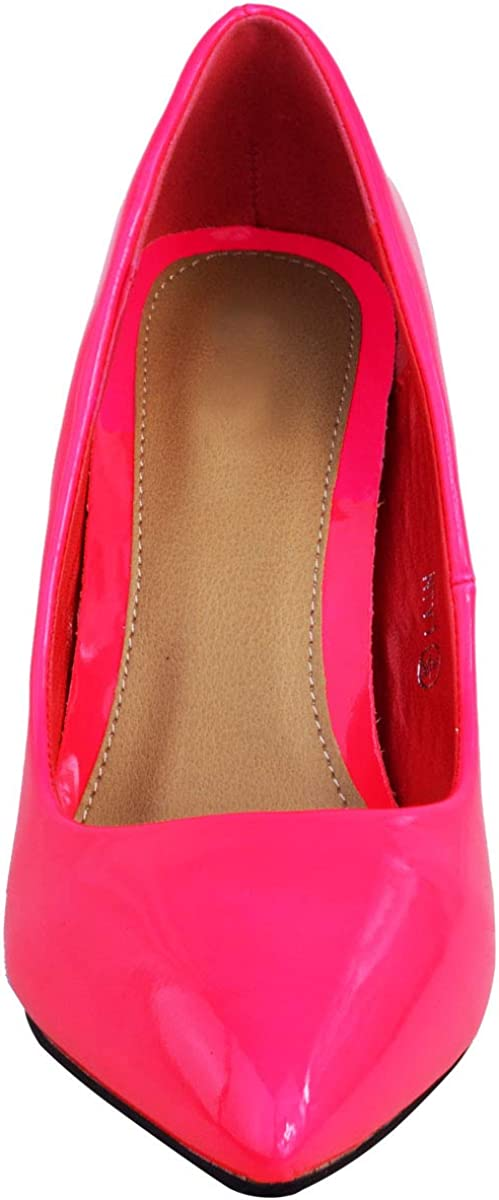 Fashion Thirsty Ladies Womens Bright Fluorescent NEON Pointed Toe Court Shoes HIGH Heels Size Neon Pink