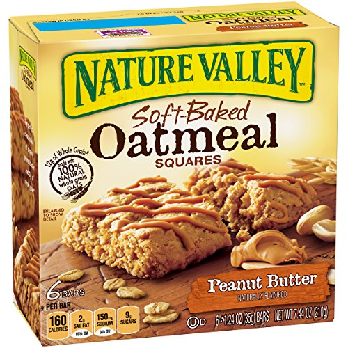 Nature Valley Soft Baked Oatmeal Squares, Peanut Butter, 6 Bars, 1.24 oz (Pack of 8) by Nature Valley