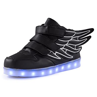 2b628846317 Qkettle Kids High Top Wing LED Lights Up Sneakers Boys Girls Shoes(33 EU