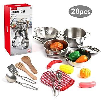 Amazon.com: 20 piezas de ollas y sartenes para niños, de ...