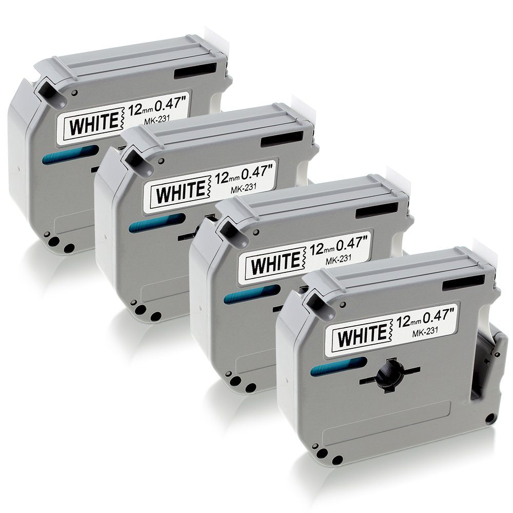 4 Pack P-Touch Labels Compatible for Brother M Tape MK231 MK-231 M231 Label Tape 12mm, P-Touch Cube PT65 PT85 PT-90 PTM95.Brother Label Makers, Black on White…