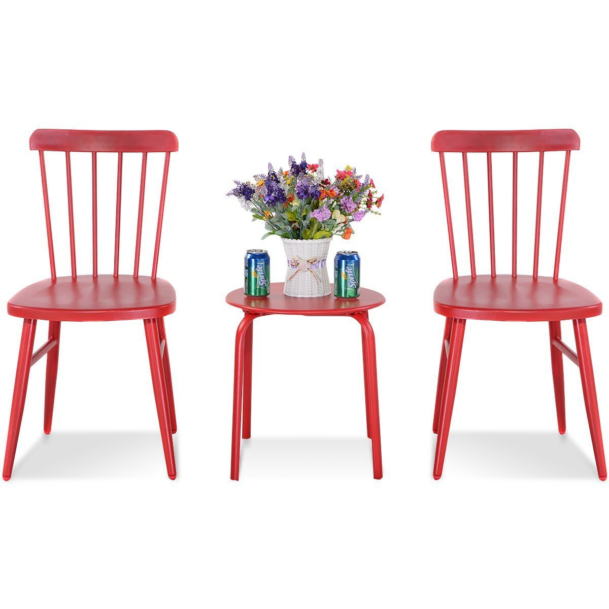 MD Group Bistro Table Chair Sets Outdoor Patio Red Steel Heavy Duty Frame Kitchen Bar Stool