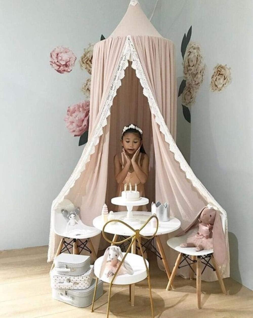 WXH Cama Redonda mosquitera cúpula Colgante Cama de algodón con Dosel Princesa Cortina Agradable para Hamaca decoración de la habitación Dossel, Rosa