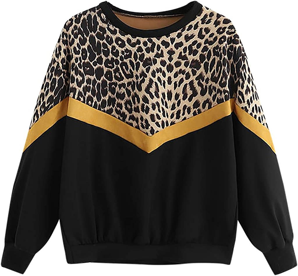 Aniywn Women Casual Leopard Print Long Sleeve Pullover V-Neck Patchwork Top Blouse