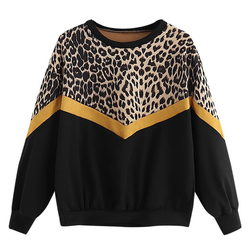 Fashion Womens Casual Long Sleeve Patchwork Leopard Print O-Neck Tops Sweatshirt (M, Black) by DRAGONHOO
