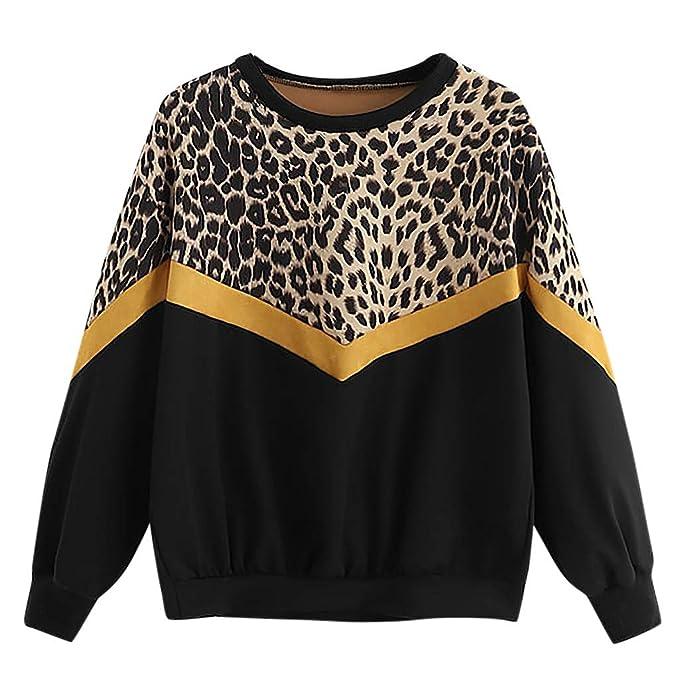 Wraluhen Beiläufiges langes Hülsen Patchwork Leopard Druck Oansatz Oberseiten Sweatshirt Art Weise Damen Button T-Shirts Blus