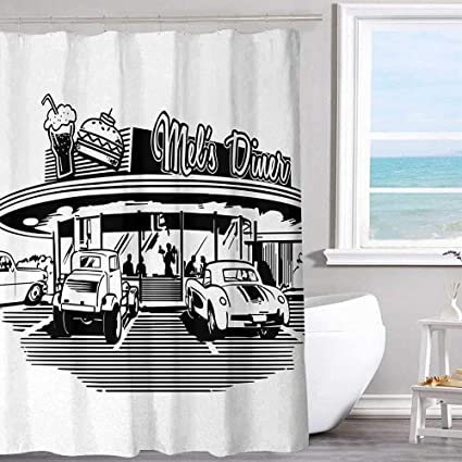 Shower Curtains Home Garden Illustration Of Retro Diner With Vintage Cars 50 S Themed Curtain Set 360idcom Fr
