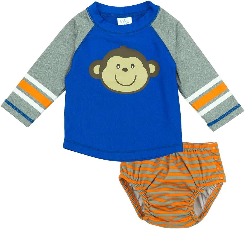 KIKO & MAX Infant Boys Monkey Swim Suit Rash Guard & Swim Diaper Trunks