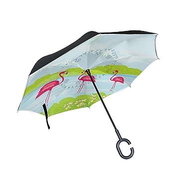 bennigiry tres rosa flamencos el agua impresión resistente al viento Reverse plegable doble capa paraguas invertido