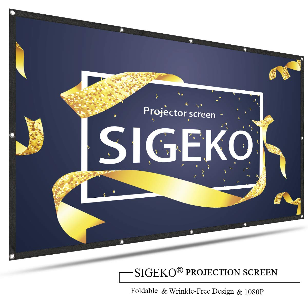 SIGEKO 4K HD 120Inch 16:9 Portable Projector Screen Multi-Function Foldable Anti-Crease for Home Theater, Outdoor,Multi-Media Classroom, Office, Indoor, Support Front and Rear Projection