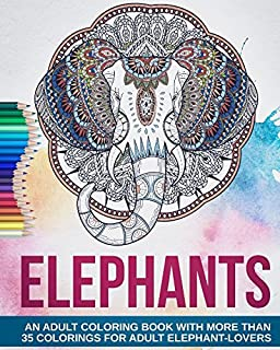 Adult Coloring Book Beautiful Elephants