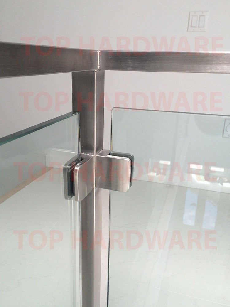 for 3//8 or 1//2 Glass Thickness Stainless Steel 316 Height 42 Marine Grade Handrail Railing System: 1-1//2 Square Middle Post w//Square Glass Clamps 180/°