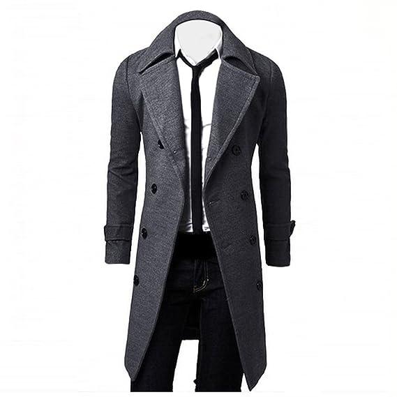 Hiroo Parka Uomo Cappotto Lungo Inverno Trench Coat Doppio Breasted Giacca Jacket Slim Fit Outwear Elegante Giubbotti