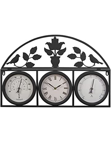 088d9c64186 Wyegate Clock Company Decorative Large Garden Clock Outdoor Weather Station  Thermometer Hygrometer (Medium