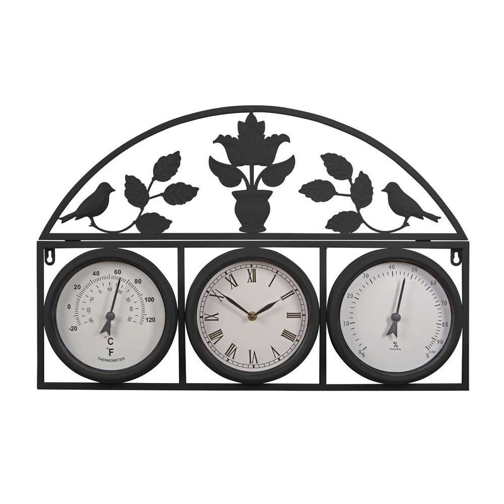 Medium, Black Wyegate Clock Company Decorative Large Garden Clock Outdoor Weather Station Thermometer Hygrometer