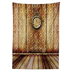 Victorian Decor Tablecloth Antique Clock on Medieval Style Wall Wooden Floor Classic Architecture Theme Art Dining Room Kitchen Rectangular Table Cover