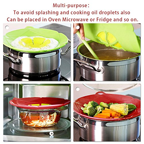 AUANDYU 2 X Spill Stopper Lid Cover And Spill Stopper, Boil Over Safeguard,Silicone Spill Stopper Pot Pan Lid Multi-Function Kitchen Tool (Green And Red) by AUANDYU (Image #2)