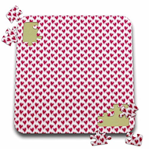 Anne Marie Baugh - Hearts and Valentines - Cute Pink and White Outlined Hearts Pattern - 10x10 Inch Puzzle (pzl_269276_2)