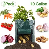 Potato Grow Bags, 2-Pack 10 Gallon Garden Plant Grow Bag with Handles and Access Flap Door, Durable Soil Container Heavy Duty for Potato, Taro, Radish, Carrot, Onion, Tomato & other Flowers Vegetables