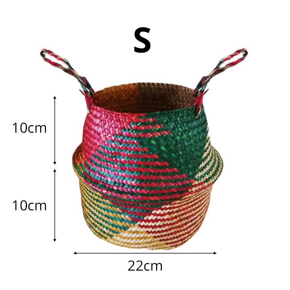 2pcs Natural Seagrass Basket Planter with Handles Collapsible Home Storage