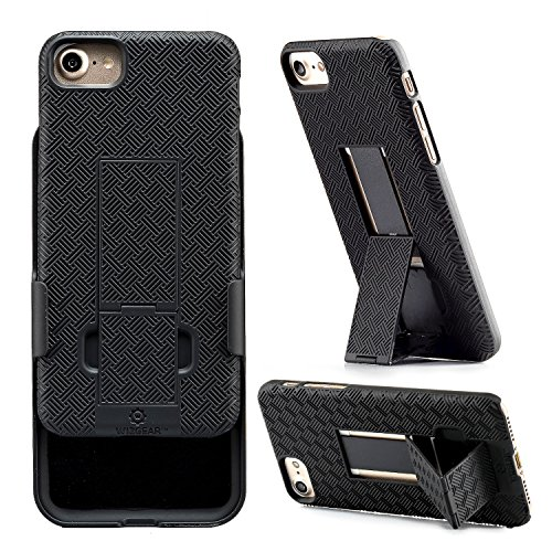 (iPhone 8, iPhone 7 Holster, WizGear Shell Holster Combo Case for Apple iPhone 7 with Kick-Stand and Belt Clip - Black (iPhone 7/8))