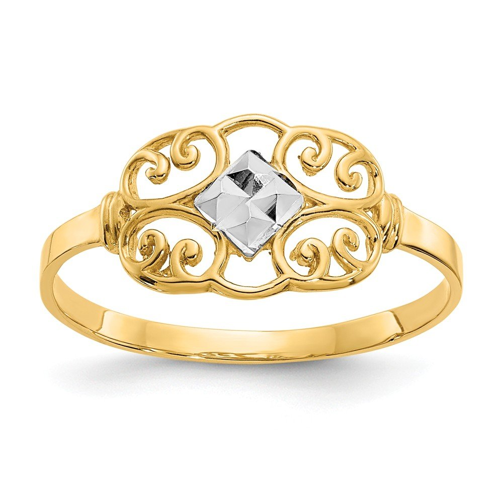 14k Yellow Gold Filigree Band Ring Size 7.00 Fine Jewelry Gifts For Women For Her