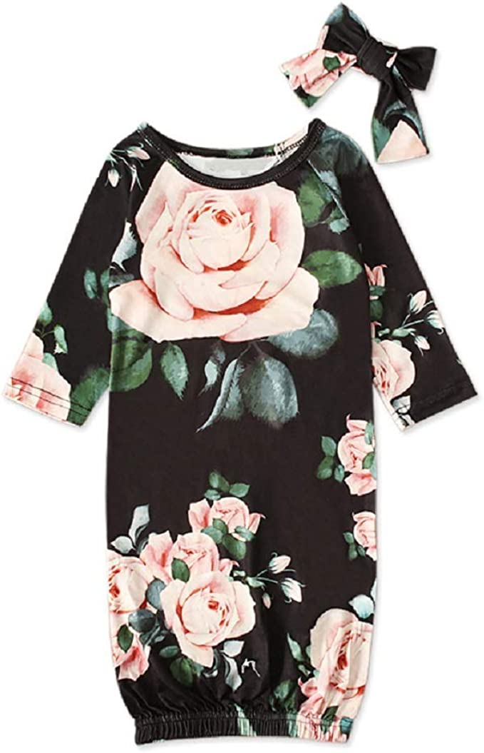 HBER Newborn Baby Toddler Girl Sleepers Gowns Long Sleeve Floral Cotton Nightgowns Sleepwear Outfits Set with Headband