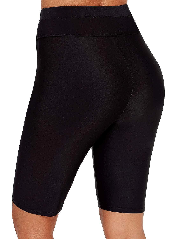 GLUDEAR Womens UV Sport Board Shorts High Waisted Swimsuit Bottom Swimwear Shorts S-3XL