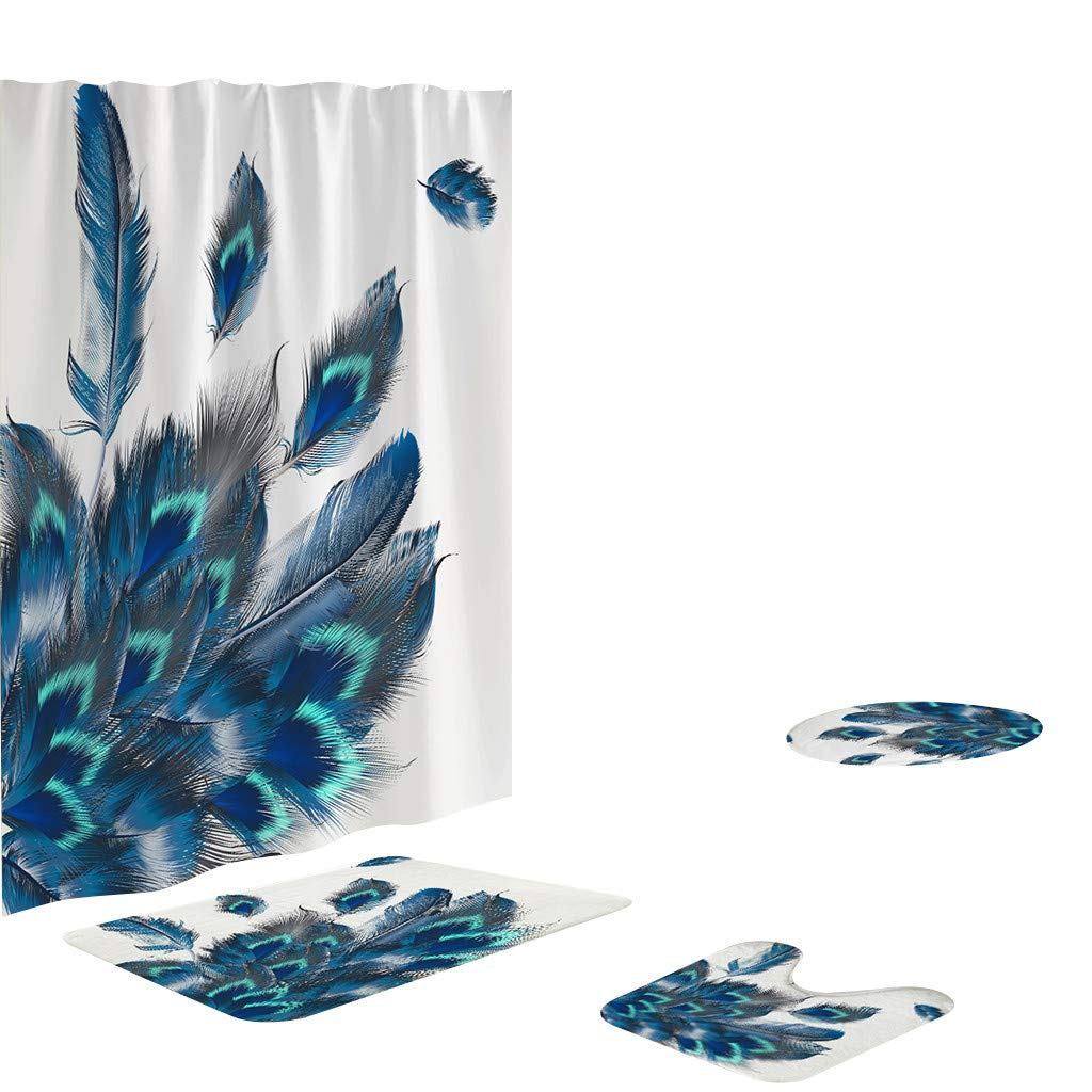 4PCS Peacock Pattern Shower Curtains Sets with Rugs Toilet Cover Rugs Mat